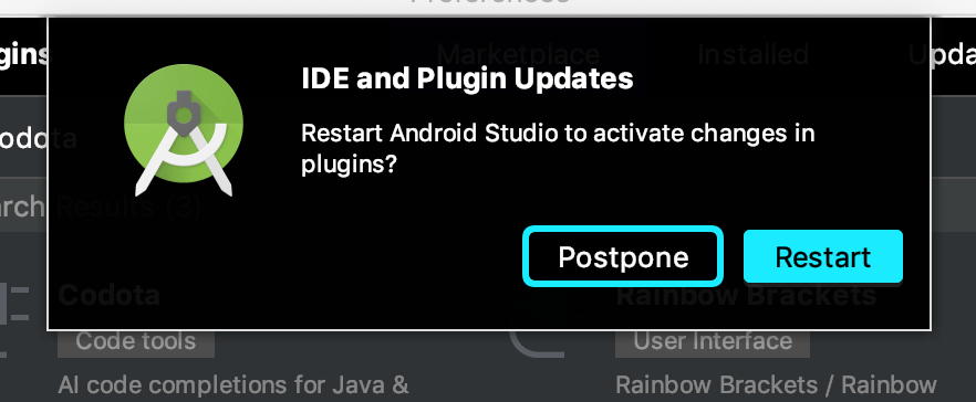 AndroidStudio再起動ダイアログ