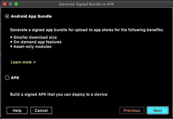 AndroidAppBundleを選択するダイアログ