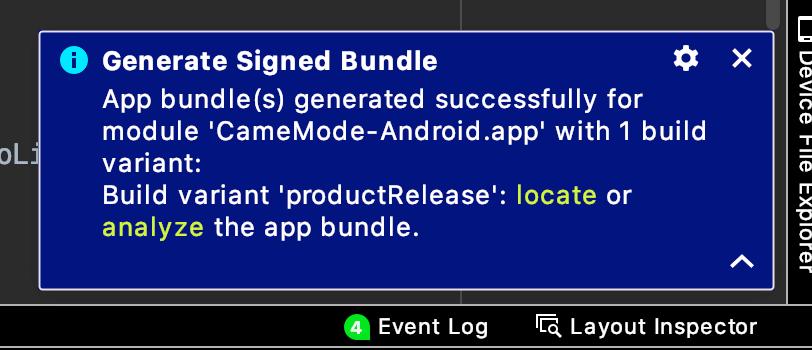 署名付きアプリの出力先